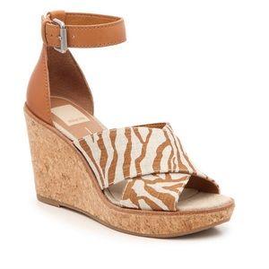 NWT Dolce Vita Zebra Cork Wedge Sandal
